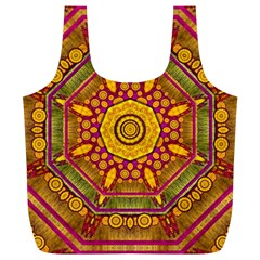 Sunshine Mandala And Other Golden Planets Full Print Recycle Bags (l)