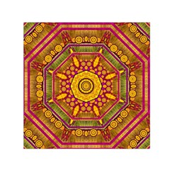 Sunshine Mandala And Other Golden Planets Small Satin Scarf (square)