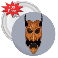 Mask India South Culture 3  Buttons (100 Pack)