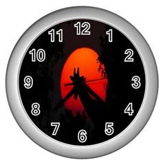 Giraffe Animal Africa Sunset Wall Clocks (silver)
