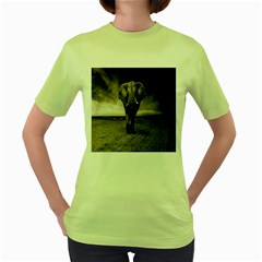 Elephant Black And White Animal Women s Green T Shirt