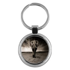 Elephant Black And White Animal Key Chains (round)
