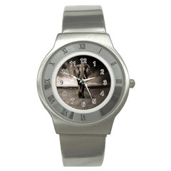 Elephant Black And White Animal Stainless Steel Watch