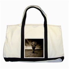 Elephant Black And White Animal Two Tone Tote Bag