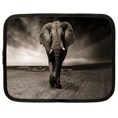 Elephant Black And White Animal Netbook Case (large)