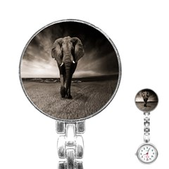 Elephant Black And White Animal Stainless Steel Nurses Watch