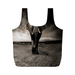 Elephant Black And White Animal Full Print Recycle Bags (m)