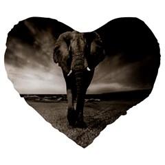 Elephant Black And White Animal Large 19  Premium Flano Heart Shape Cushions