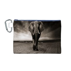 Elephant Black And White Animal Canvas Cosmetic Bag (m)
