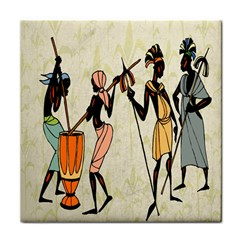 Man Ethic African People Collage Tile Coasters