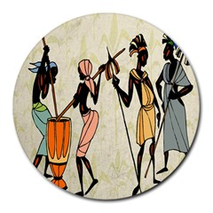 Man Ethic African People Collage Round Mousepads