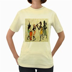 Man Ethic African People Collage Women s Yellow T Shirt