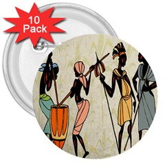 Man Ethic African People Collage 3  Buttons (10 Pack)