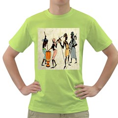Man Ethic African People Collage Green T Shirt