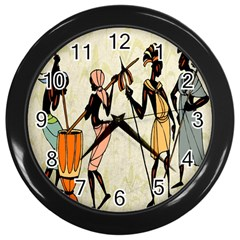 Man Ethic African People Collage Wall Clocks (black)