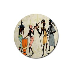 Man Ethic African People Collage Rubber Coaster (round)