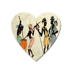 Man Ethic African People Collage Heart Magnet