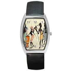 Man Ethic African People Collage Barrel Style Metal Watch