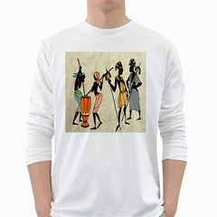 Man Ethic African People Collage White Long Sleeve T Shirts