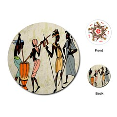 Man Ethic African People Collage Playing Cards (round)
