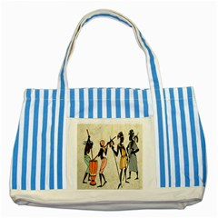 Man Ethic African People Collage Striped Blue Tote Bag