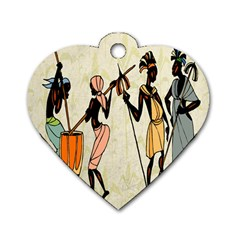 Man Ethic African People Collage Dog Tag Heart (two Sides)