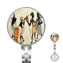 Man Ethic African People Collage Stainless Steel Nurses Watch