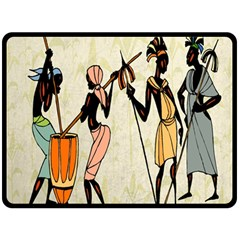 Man Ethic African People Collage Double Sided Fleece Blanket (large)
