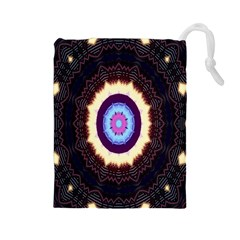 Mandala Art Design Pattern Drawstring Pouches (large)
