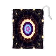 Mandala Art Design Pattern Drawstring Pouches (large)