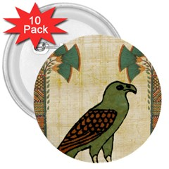 Egyptian Paper Papyrus Bird 3  Buttons (10 Pack)