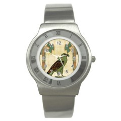 Egyptian Paper Papyrus Bird Stainless Steel Watch