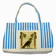 Egyptian Paper Papyrus Bird Striped Blue Tote Bag