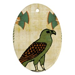 Egyptian Paper Papyrus Bird Oval Ornament (two Sides)