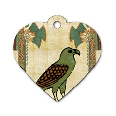 Egyptian Paper Papyrus Bird Dog Tag Heart (one Side)
