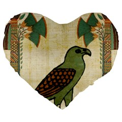 Egyptian Paper Papyrus Bird Large 19  Premium Flano Heart Shape Cushions