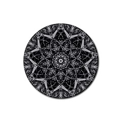 Mandala Psychedelic Neon Rubber Round Coaster (4 Pack)