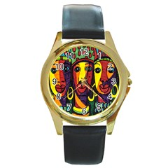 Ethnic Bold Bright Artistic Paper Round Gold Metal Watch