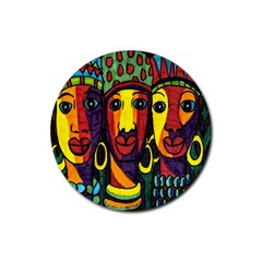 Ethnic Bold Bright Artistic Paper Rubber Round Coaster (4 Pack)
