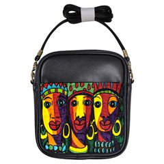 Ethnic Bold Bright Artistic Paper Girls Sling Bags