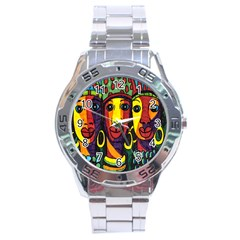 Ethnic Bold Bright Artistic Paper Stainless Steel Analogue Watch