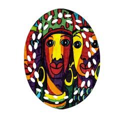 Ethnic Bold Bright Artistic Paper Ornament (oval Filigree)