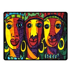 Ethnic Bold Bright Artistic Paper Double Sided Fleece Blanket (small)