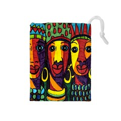Ethnic Bold Bright Artistic Paper Drawstring Pouches (medium)