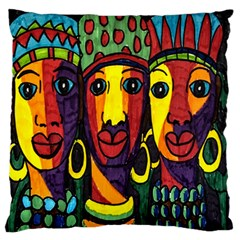 Ethnic Bold Bright Artistic Paper Large Flano Cushion Case (two Sides)