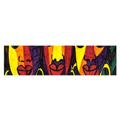 Ethnic Bold Bright Artistic Paper Satin Scarf (oblong)