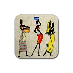 Woman Ethic African People Collage Rubber Coaster (square)