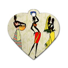 Woman Ethic African People Collage Dog Tag Heart (two Sides)
