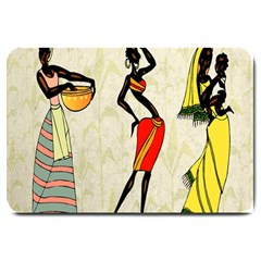 Woman Ethic African People Collage Large Doormat