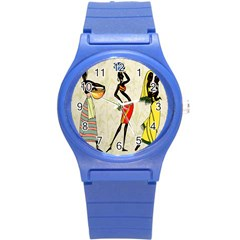 Woman Ethic African People Collage Round Plastic Sport Watch (s)